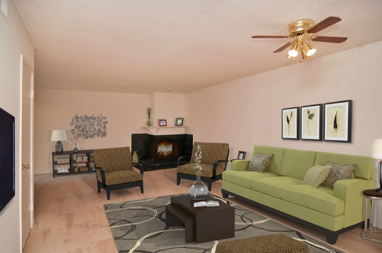 A beautifully appointed living room in the B2 Floor Plan at Riverbend Apartments